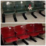 Jamie Ramsey's completed Riverfront Stadium seats, on brackets